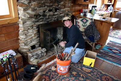 Cabin mike making fire
