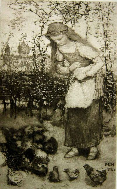 Woman and chickens3